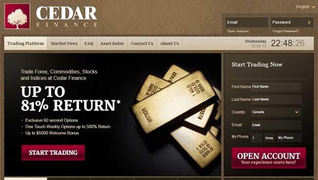 Cedar finance the binary options revolution